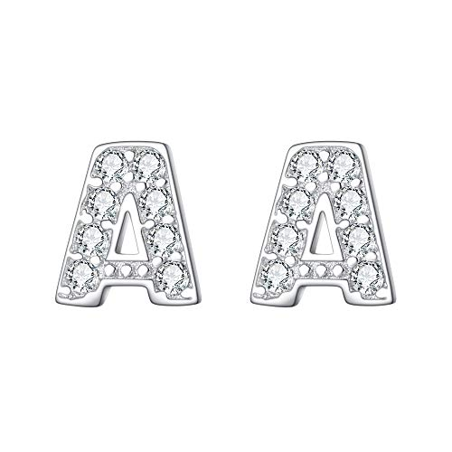 EVER FAITH 925 Sterling Silver Cubic Zirconia Fashion Initial Alphabet Letter A Stud Earrings Clear