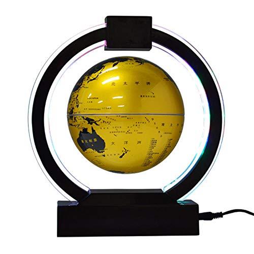 Whinop 6 Pulgadas Globo Magnetico de Levitacion con Luces Color LED,Amarillo Globo Terráqueo Levitación para Niños Niñas Lámpara de Escritorio de Mesa Decoración del Hogar