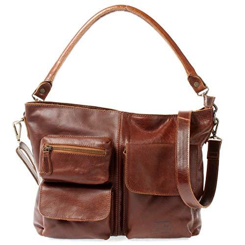 LECONI Schultertasche Ledertasche für Damen Vintage-Look echtes Leder Natur großer Shopper Lederhandtasche für DIN A4 Damentasche Frauen Handtasche 39x27x10cm braun LE0062-buf