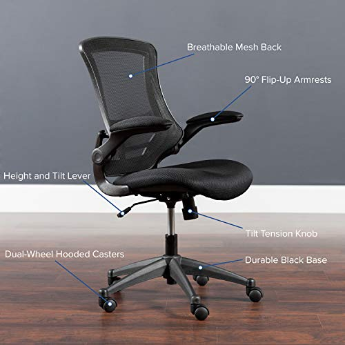 Black Mesh Swivel Ergonomic Task Office Chair with Flip-Up Arms