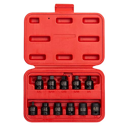 """Sunex 3841, 3/8 Inch Drive Pipe Plug Socket Set, 11-Piece, SAE, 7/16"""" - 5/8"""", Cr-Mo Steel, Tapered Male Square Drive, Chamfered Female Square Drive, Heavy Duty Storage"""