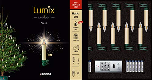 Lumix KRINNER Superlight Flame Mini 12er Basis-Set kabellose LED Christbaumkerzen, Kunststoff, Elfenbein, 9 cm