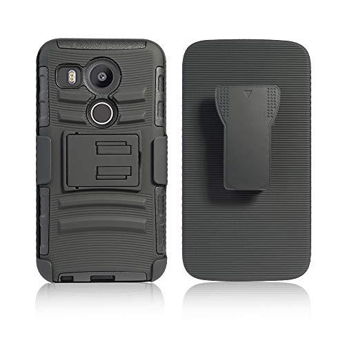 Cocomii Striped Belt Clip Holster LG Nexus 5X Case, Slim Thin Matte Kickstand Swivel Belt Clip Holster Reinforced Drop Protection Fashion Phone Case Bumper Cover Compatible with LG Nexus 5X (Black)