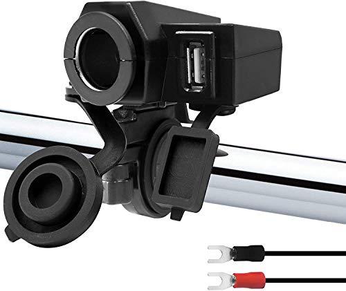 Jankr Kit Adaptador de Cargador USB 2.1A de Motocicleta de 5 V a Prueba de Agua, Toma de mechero de Coche de 12 V, Abrazadera de Manillar de 7/8-1 1/8'Abrazadera de Manillar ATV UTV
