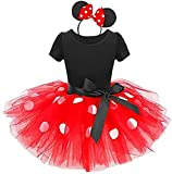 Baby Girls Toddler Polka Dots Princess Christmas Dress Cosplay 1st Birthday Outfits Pageant Fancy Costume Bowknot Ballet Dance Leotard Tutu Skirt with Party Ears Headband Red Polka Dot 12-18 Months