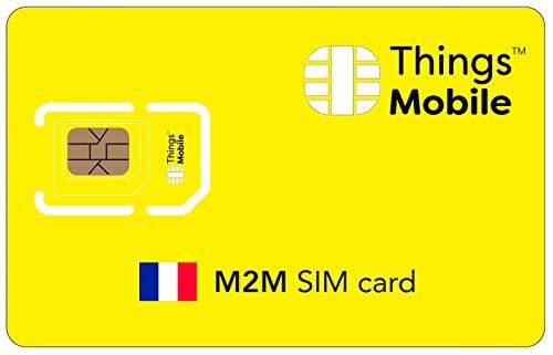 Tarjeta SIM M2M FRANCIA - Things Mobile - con cobertura global y red multioperador GSM/2G/3G/4G LTE, sin costes fijos, sin vencimiento y con tarifas competitivas, con 10 € de crédito incluido