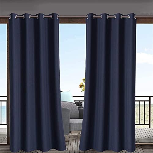 DOILE Cortinas Impermeables Al Aire Libre Cortinas De Protección Solar Ojal Cortinas A Prueba De Viento De Interior/Exterior para Pabellones De Porche (2PCS) (Armada,W120cm*L150cm)