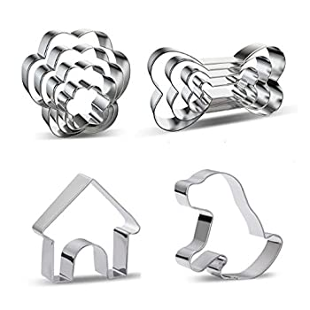 10 Pieces Metal Dog Bone Paw House Biscuit Cookie Cutters Molds for Cakes Biscuits Sandwiches Cookies Shapes