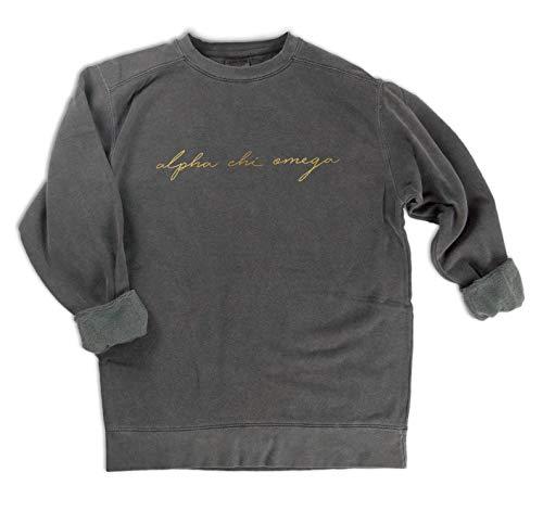 Alpha Chi Omega Gold Script Comfort Colors Sweatshirt (X-Large)