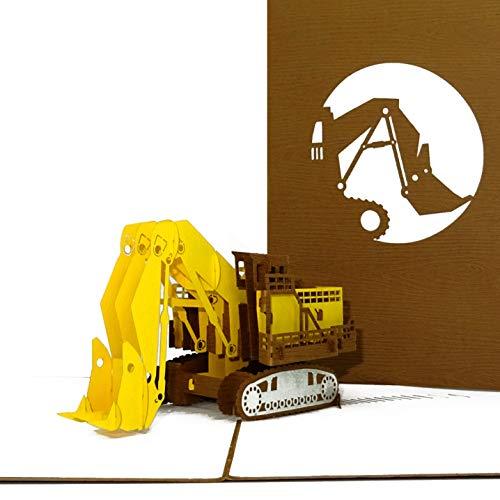 """3D Geburtstagskarte """"Bagger"""" - große Pop Up Karte mit Umschlag als Glückwunschkarte & Einladungskarte zum Geburtstag – Geschenkgutschein, Einladung & Gutschein zum Bagger Fahren & Führerschein"""