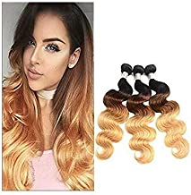 Ombre Bundles With Closure Blonde Hair Weave Bundles Smooth Straight Bundles With Lace Closure Non-Remy