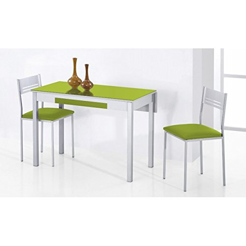 SHIITO - Mesa de Cocina Extensible 90x50 cm con un ala caída y Tapa de Cristal