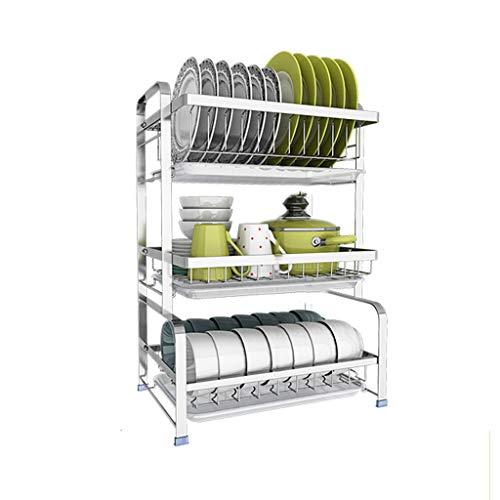 GY Égouttoir En Acier Inoxydable 3 Couches Comptoir De Cuisine Rangement De La Vaisselle Lave-vaisselle Séchoir Évier Rangement Latéral Argent, 42 * 28 * 43cm (Couleur : Silver)