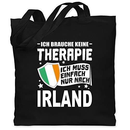 Shirtracer Länder Fahnen und Flaggen - Ich brauche keine Therapie Ich muss einfach nur nach Irland - weiß - Unisize - Schwarz - Fernweh - WM101 - Stoffbeutel aus Baumwolle Jutebeutel lange Henkel