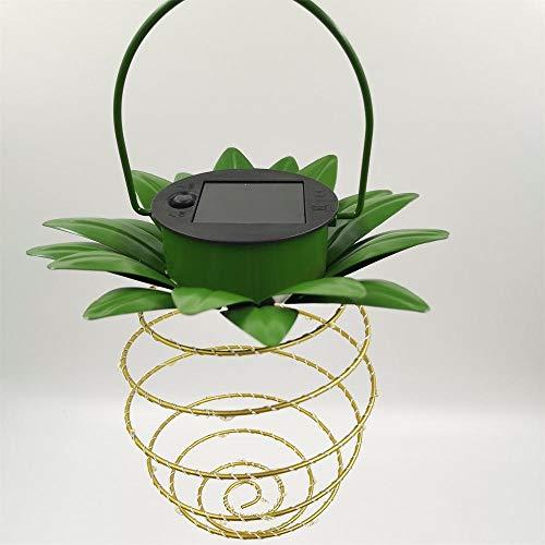 Solar Warm White Copper LED Spiral Chandelier Garden Outdoor Lighting Hanging Pineapple lamp (Spiral lamp x 2)
