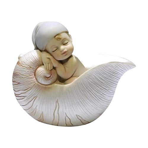 Comfy Hour 3' Lovely Cute Baby Peacefully Sleeping in Seashell Polyresin Figurine, Mini Gift, Sweet Baby Collection