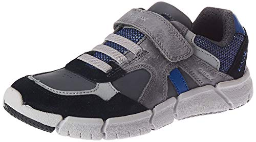Geox J FLEXYPER Boy C Sneaker, (Grey/Royal), 30 EU