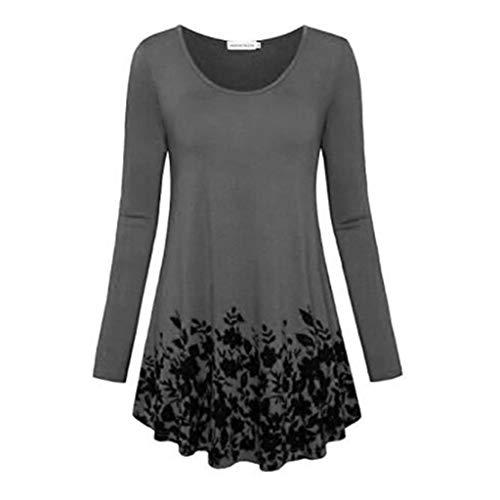 女性用Tシャツ ヨーロッパとアメリカの長袖プリントラウンドネックTシャツ、 春、夏、秋に適した、スタイリッシュな個性 (Color : Gray, Size : 4XL)