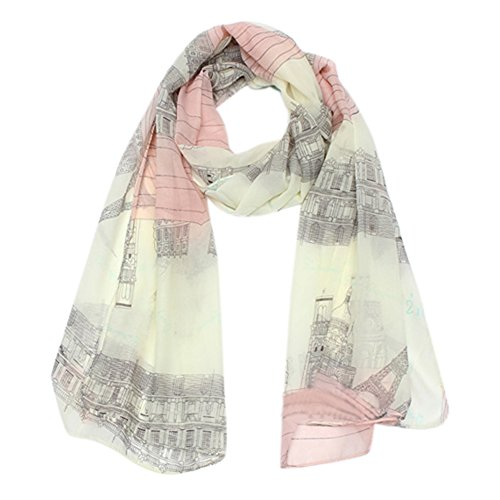 Women's Voile Soft Long Scarf Eiffel Tower Printed Wrap Shawl Stole Scarves
