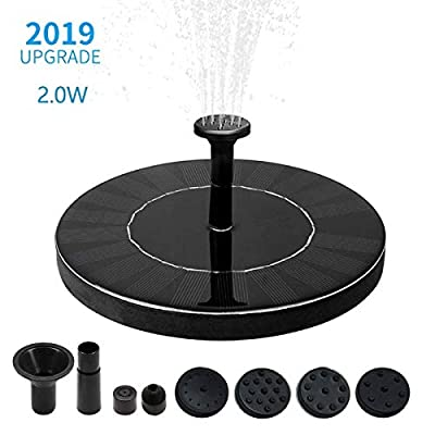 Kyerivs 2.0W Water Solar fountain Pump with Built-in Battery Backup, Birdbath Solar Fountain Pump Solar Fountain Pump for Bird Bath&Ponds, Solar Powered Free Standing Water Fountain Pump Kit from Kyerivs