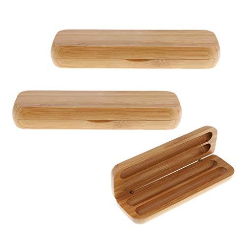 SM SunniMix 3 Stück Tragbare Bambus Füllfederhalter Aufbewahrungskoffer 2 Stift Steckplatz Travel Accs Beige