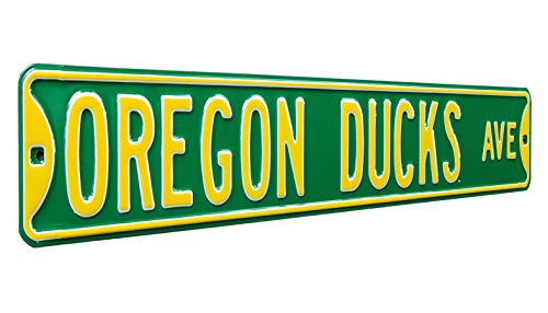 Authentic Street Signs NCAA Officially Licensed, REAL 3 Foot, Premium Grade Solid SteelEmbossed STREET SIGN- Prime Wall Decor for Home, Office, Man Cave- Perfect Gift for Him!!, Oregon Ducks