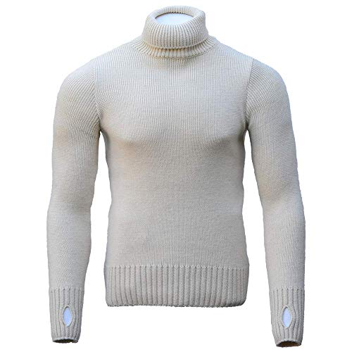 Goldtop Herren Merino Wool Submariner Sweater Gr. 46 DE, natur