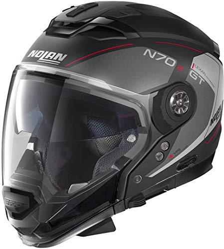 Nolan N70-2 GT Lakota N-Com Casco Nero opaco/Rosso XL (62)