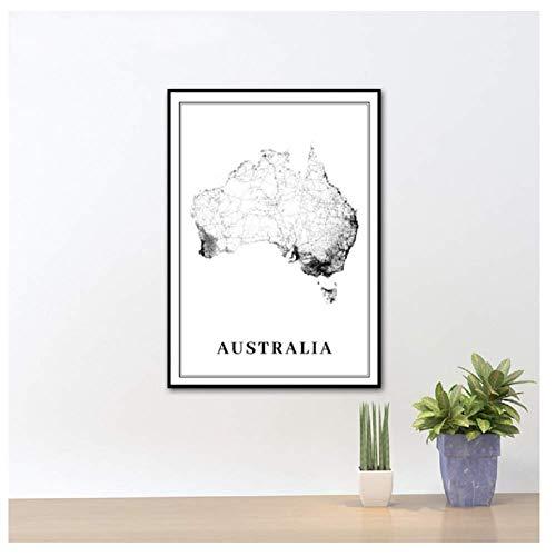 nr Australië Stad Road Map Kunst Poster Print Sydney Melbourne Brisbane Oceania kaart Kunst Schilderij Afbeelding Office Wand-42x60cmx1 Frameloos