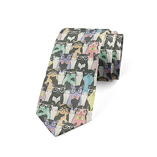 Tcerlcir Corbata De Corbata Para Hombre Gatos Con Gafas Corbata De Poliéster Suave Para Ropa Formal, Bodas, Bailes, Celebraciones, Fiestas