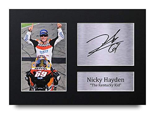 HWC Trading Nicky Hayden A4 Ungerahmt Signiert Gedruckt Autogramme Bild Druck-Fotoanzeige Geschenk Für Superbikes Motogp Fans
