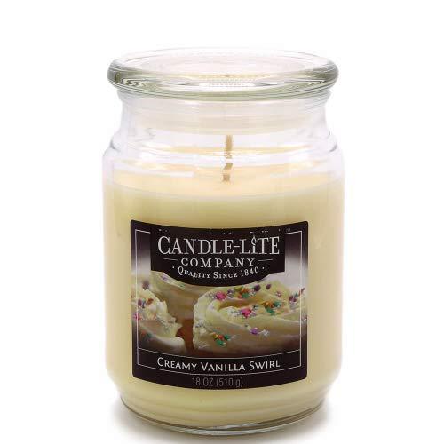 Candle-lite–Candela Profumata in Barattolo di Vetro, Creamy Vanilla Swirl 510G, Bianco, 10x 10x 14.5cm