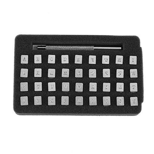 Herramientas de estampado de cuero, herramienta de perforación de alfabeto de aleación de acero con mango antideslizante 36 piezas Juego de estampador de cuero con letras para impresión artesa