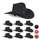 Relaxdays Set 10 Cappelli da Cowboy/Cowgirl per Feste di Carnevale, Stile Western, per Adu...