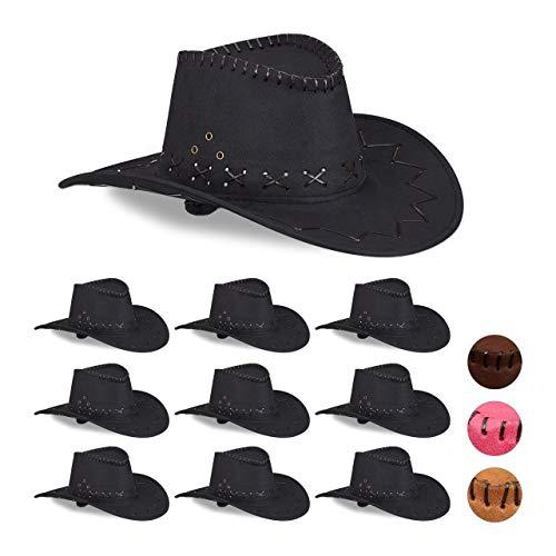 Relaxdays 10 x Cowboyhut Fasching, Westernhut, für Erwachsene, im Westernstyle, Karneval, mit Kopfband, Faschingshut, schwarz