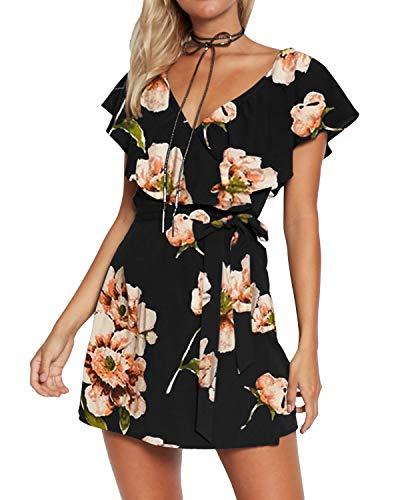Yoins - Vestido de verano para mujer, corto, cuello en V, sin hombros, elegante, vestido de playa, minivestido de fiesta 08 S