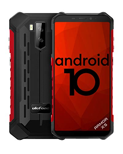 4G Outdoor Handys ohne Vertrag, Ulefone Armor X5 Android 10 Smartphones 5,5 Zoll Octa-Core 3GB + 32GB 5000mAh IP68/IP69K Wasserdicht Stoßfest Staubdicht, Dual SIM GPS NFC -Rot