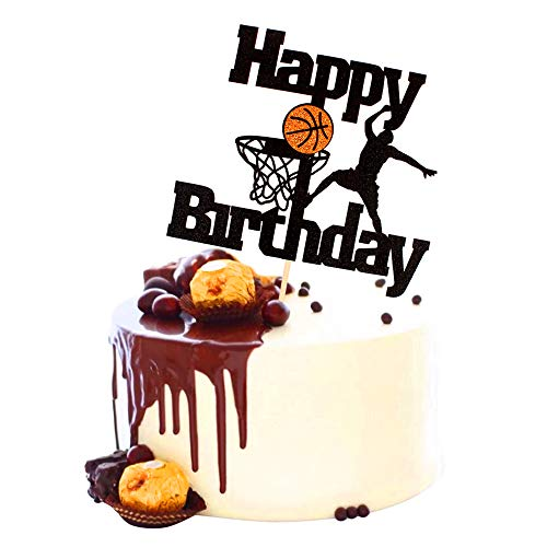 Unimall Basketball Happy Birthday Cake Topper Basketball Scene Themed Cake Fruit Picks for Man Boys Father Birthday Event Party Supply Black Glitter Decorations 1 Pack