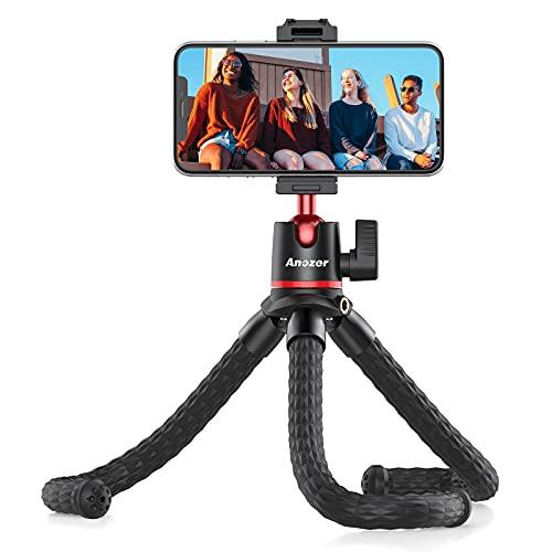 Anozer Handy Stativ flexibel, GoPro Stativ mit Handy Halter, Smartphone Stativ Tripod für Phone wie iPhone Samsung und Kamera innerhalb von 1,5 kg mit Standard 1/4 Schraubenkopf und Kaltschuhhalterung