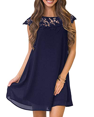 YOINS Sommerkleid Damen Kleider A-Linie Loose Kleid Elegant Spitzekleid Minikleid Rundhals Strandkleid Strandmode B-dunkelblau M