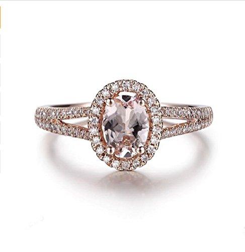 Gowe Oval 7x 5rosa Morganit, natürliche Diamanten Ring massiv 10K Rose Gold Fine Jewelry Verlobungsring Hochzeit Diamanten Edelstein Ring
