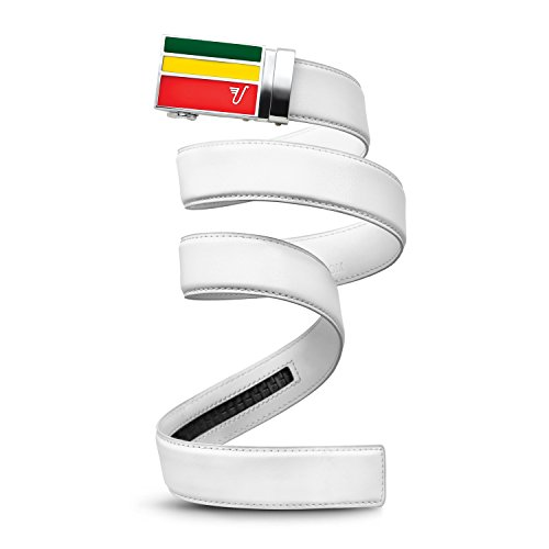 Mission Belt Men's Ratchet Belt - Rasta - Green, Yellow, Red Buckle / White Leather, Large (36 - 38)