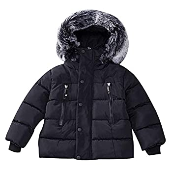 Baby Girl Boy Winter Coats Thicken Fur Collar Hoodie Down Jacket Windproof Snowsuit Clothing Black 100