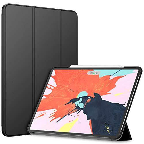 JETech Hülle Kompatibel iPad Pro 12,9 Zoll (Modell 2020/2018), Kompatibel mit Pencil, Intelligent Abdeckung Schlafen/Wachen, Schwarz