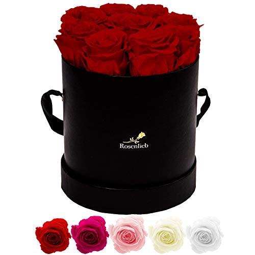 Rosenlieb Rosenbox mit 9 Infinity Rosen (3 Jahre haltbar) | Echte konservierte Blumen | Flowerbox Inklusive Grußkarte| Geschenk für Mutter, Muttertag, Muttertagsgeschenk (Medi Bella Schwarz, Rot)