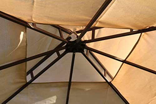 Garden Market Place Spare Roof Cover for a Leaf Design 2.5M Square Garden Gazebo-Beige Colour, 250 X 250 X 30CM