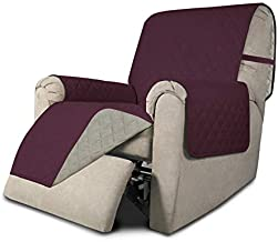 Easy-Going Recliner Sofa Slipcover Reversible Sofa Cover Furniture Protector Couch Shield Water Resistant Elastic Straps PetsKidsChildrenDogCat(Recliner,Wine/Beige)
