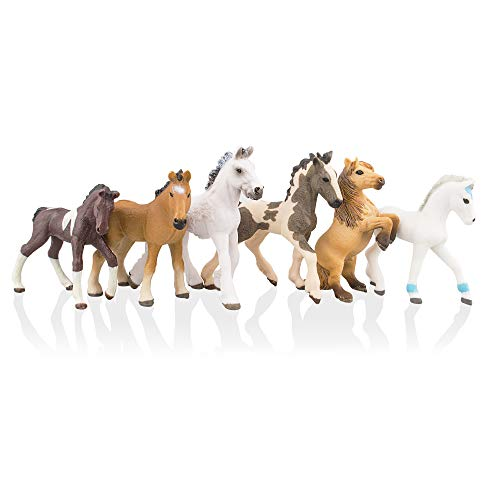 TOYMANY 6PCS 3-4' Realistic Plastic Horse Figurines Set, Detailed Textures Foal Pony Animal Toy Figures, Christmas Birthday Gift Cake Topper for Kids Toddlers Children