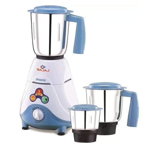 Bajaj Maxio Mixer Grinder with 3 Jars (White Blue, 500-Watt)