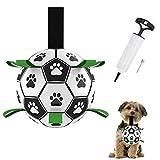 Juguete para Perros, HONEYWHALE Balón de fútbol para Perros de 6 Pulgadas con lengüetas de Agarre Juguetes interactivos para Perros con Bomba de balón y Aguja para Perros pequeños